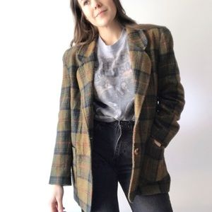 Vintage The Limited Green Plaid Blazer